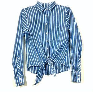J.Crew White Striped Tie Front Button Down Classic